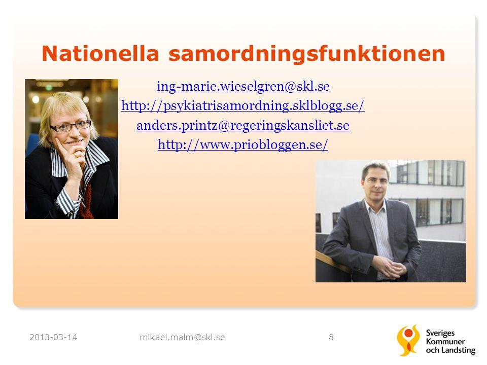 Nationella samordningsfunktionen ing-marie.wieselgren@skl.se http://psykiatrisamordning.sklblogg.se/ anders.printz@regeringskansliet.se http://www.pri