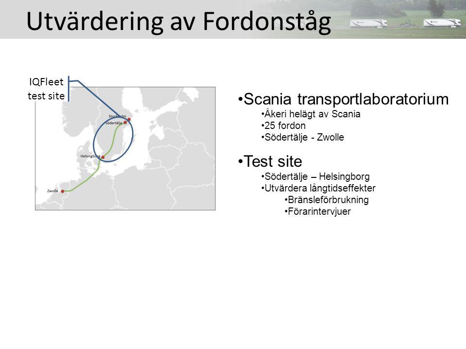 Utvärdering av Fordonståg Scania transportlaboratorium Åkeri helägt av Scania 25 fordon Södertälje - Zwolle Test site Södertälje – Helsingborg Utvärdera långtidseffekter Bränsleförbrukning Förarintervjuer IQFleet test site