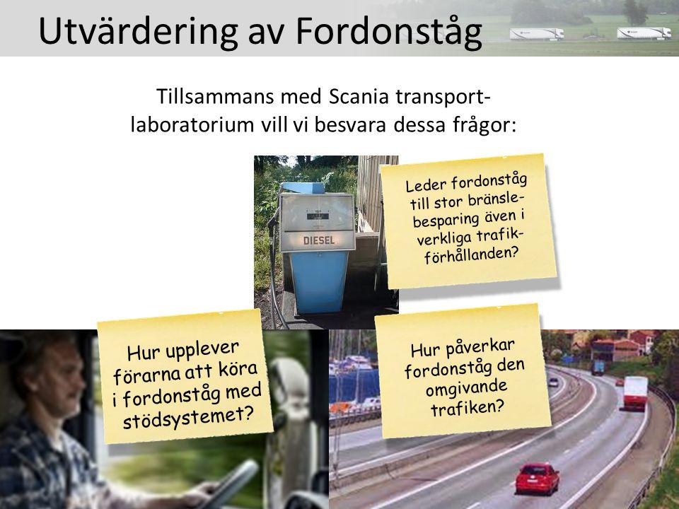 Tillsammans med Scania transport- laboratorium vill vi besvara dessa frågor: Hur upplever förarna att köra i fordonståg med stödsystemet.