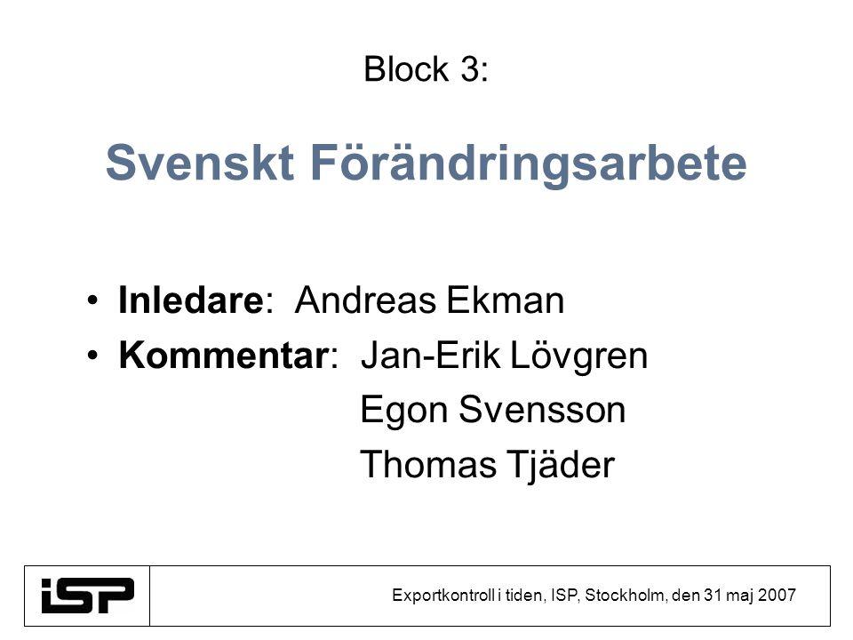 Exportkontroll i tiden, ISP, Stockholm, den 31 maj 2007 Block 3: Svenskt Förändringsarbete Inledare: Andreas Ekman Kommentar: Jan-Erik Lövgren Egon Sv
