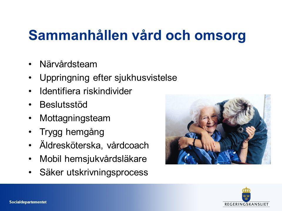 Socialdepartementet Sammanhållen vård och omsorg Närvårdsteam Uppringning efter sjukhusvistelse Identifiera riskindivider Beslutsstöd Mottagningsteam
