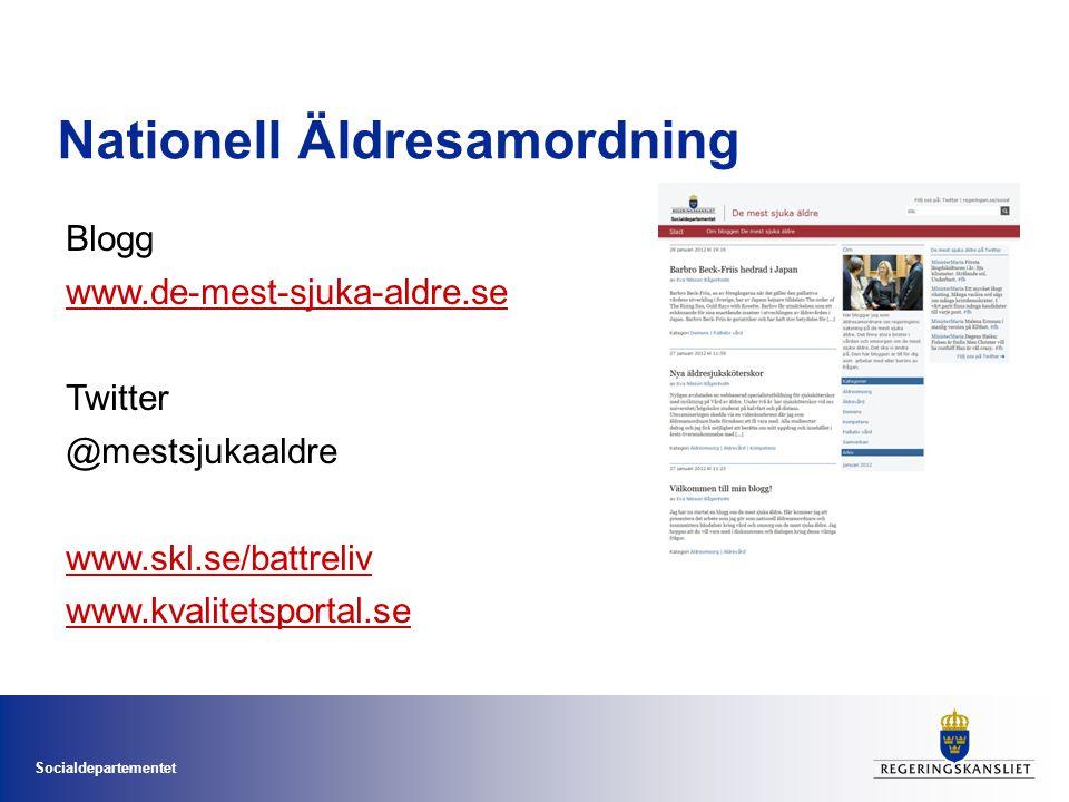 Socialdepartementet Nationell Äldresamordning Blogg www.de-mest-sjuka-aldre.se Twitter @mestsjukaaldre www.skl.se/battreliv www.kvalitetsportal.se