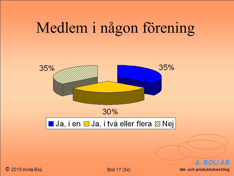 Bild 17 (34) A. BOIJ AB Idé- och produktutveckling © 2010 Anita Boij Medlem i någon förening