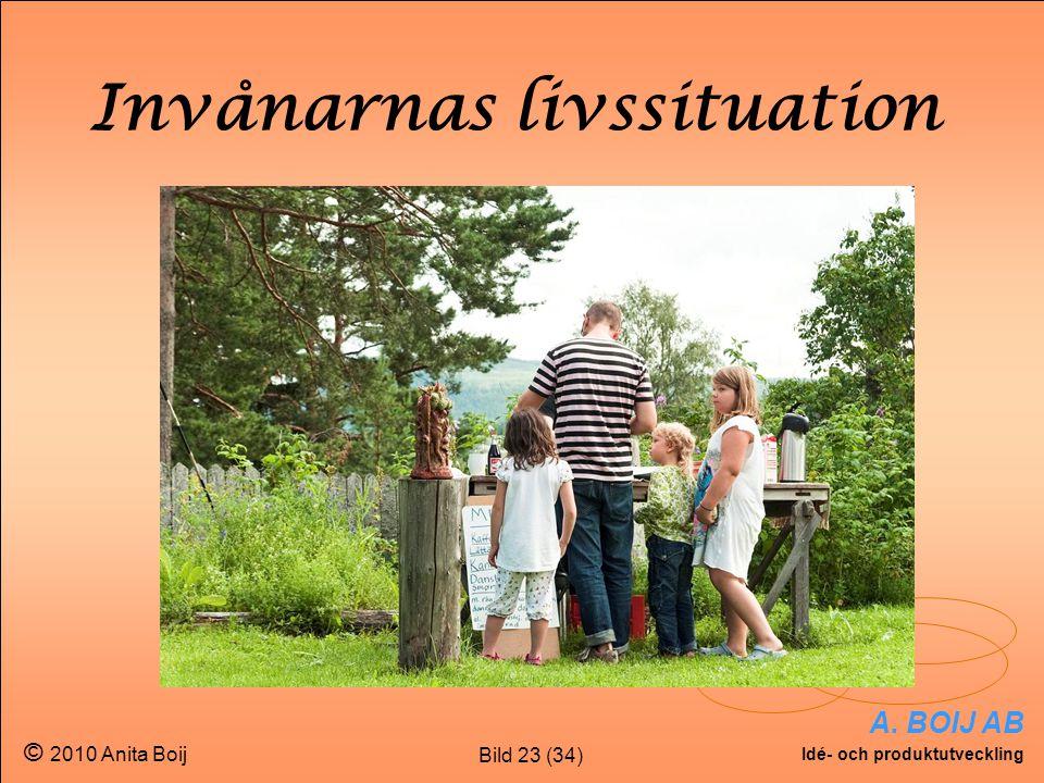 Bild 23 (34) A. BOIJ AB Idé- och produktutveckling © 2010 Anita Boij Invånarnas livssituation