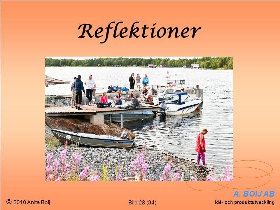 Bild 28 (34) A. BOIJ AB Idé- och produktutveckling © 2010 Anita Boij Reflektioner