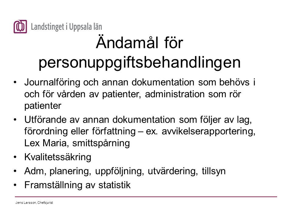 Jens Larsson, Chefsjurist Ändamål för personuppgiftsbehandlingen Journalföring och annan dokumentation som behövs i och för vården av patienter, admin