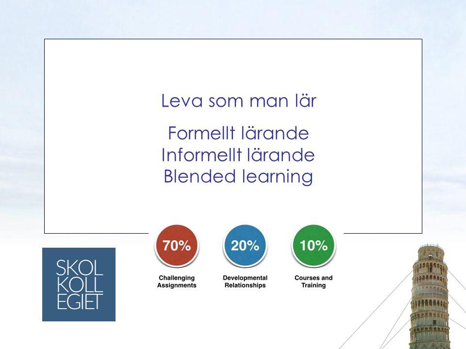 Leva som man lär Formellt lärande Informellt lärande Blended learning