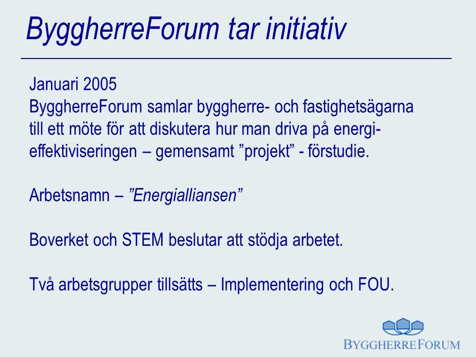 ByggherreForum tar initiativ Januari 2005 ByggherreForum samlar byggherre- och fastighetsägarna till ett möte för att diskutera hur man driva på energi- effektiviseringen – gemensamt projekt - förstudie.