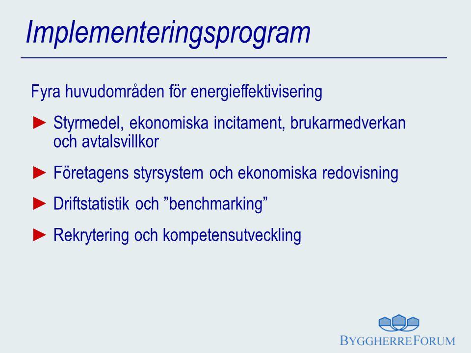 Implementeringsprogram Fyra huvudområden för energieffektivisering ► Styrmedel, ekonomiska incitament, brukarmedverkan och avtalsvillkor ► Företagens styrsystem och ekonomiska redovisning ► Driftstatistik och benchmarking ► Rekrytering och kompetensutveckling