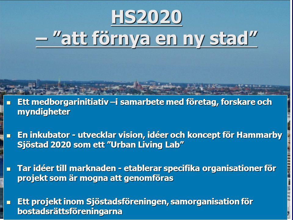 """HS2020 – """"att förnya en ny stad"""" HS2020 – """"att förnya en ny stad"""" Ett medborgarinitiativ –i samarbete med företag, forskare och myndigheter Ett medbor"""