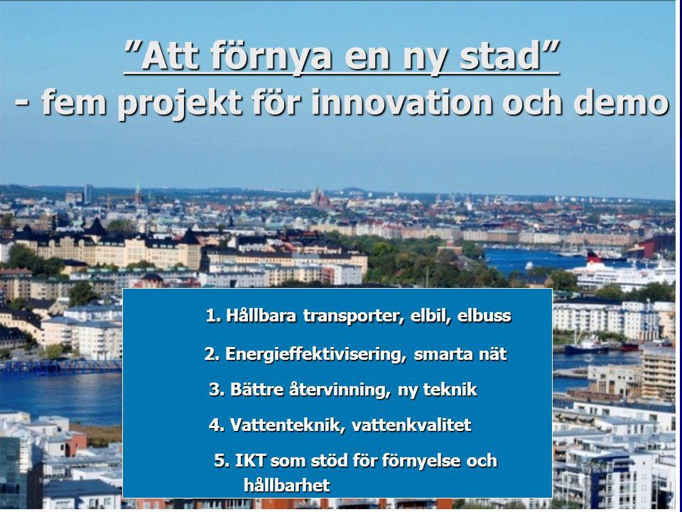 """""""Att förnya en ny stad"""" - fem projekt för innovation och demo 1. Hållbara transporter, elbil, elbuss 1. Hållbara transporter, elbil, elbuss 2. Energie"""