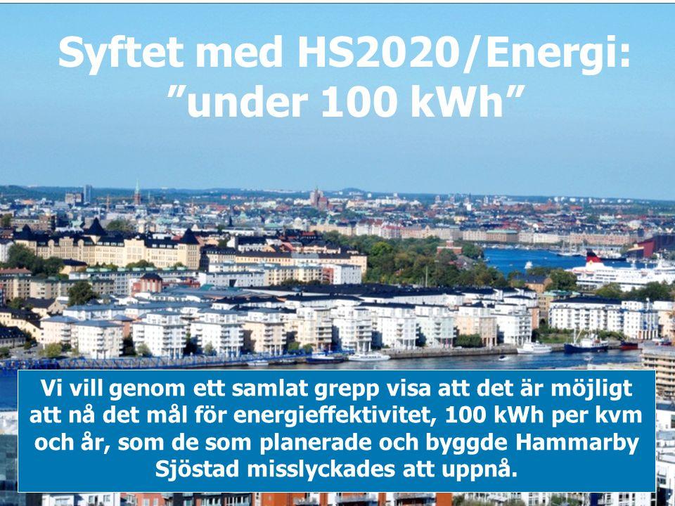 """Syftet med HS2020/Energi: """"under 100 kWh"""" Vi vill genom ett samlat grepp visa att det är möjligt att nå det mål för energieffektivitet, 100 kWh per kv"""