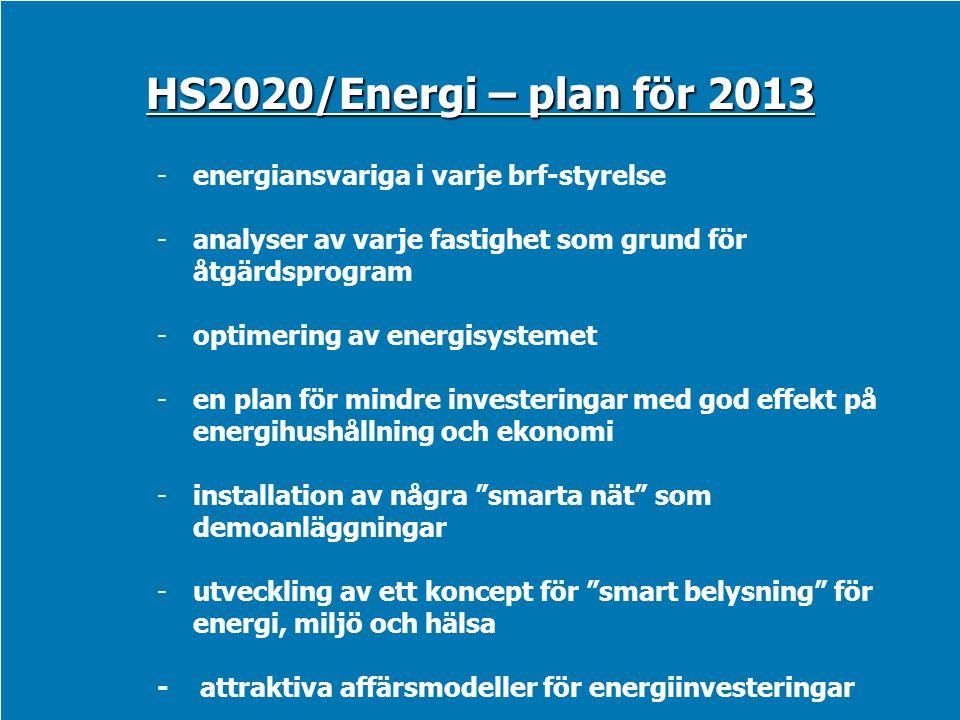 HS2020/Energi – plan för 2013 -energiansvariga i varje brf-styrelse -analyser av varje fastighet som grund för åtgärdsprogram -optimering av energisys
