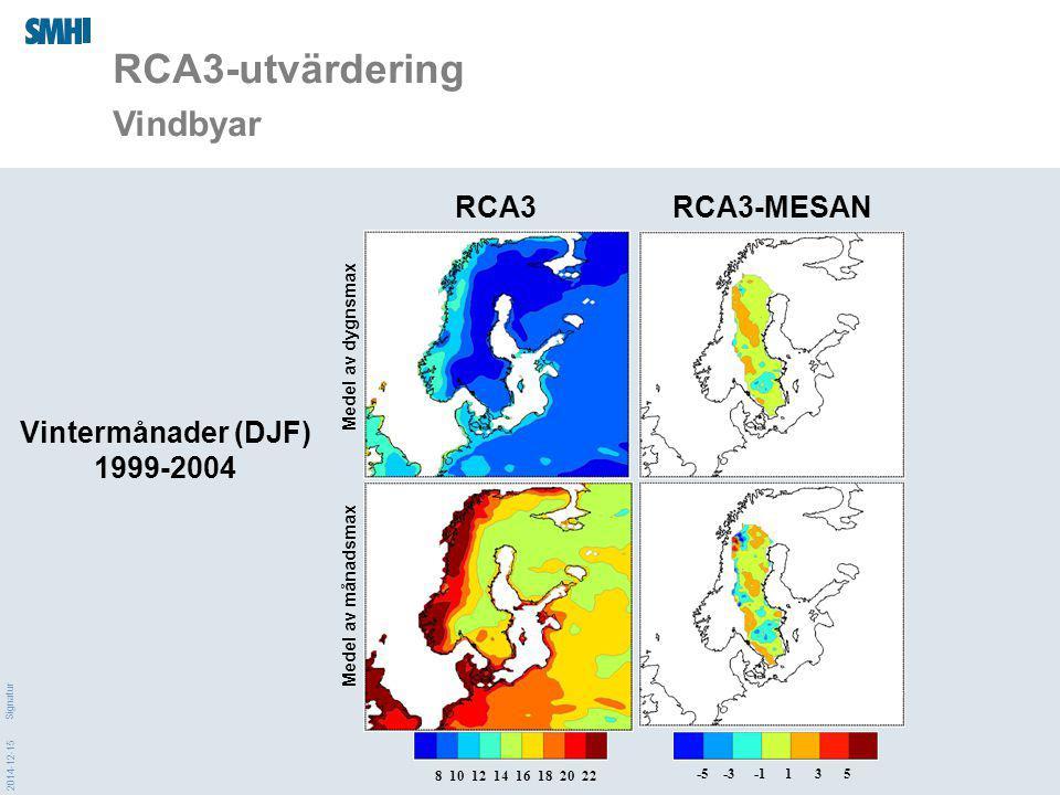 2014-12-15 Signatur RCA3-utvärdering Vindbyar 8 10 12 14 16 18 20 22 -5 -3 -1 1 3 5 RCA3-MESANRCA3 Medel av dygnsmax Medel av månadsmax Vintermånader (DJF) 1999-2004