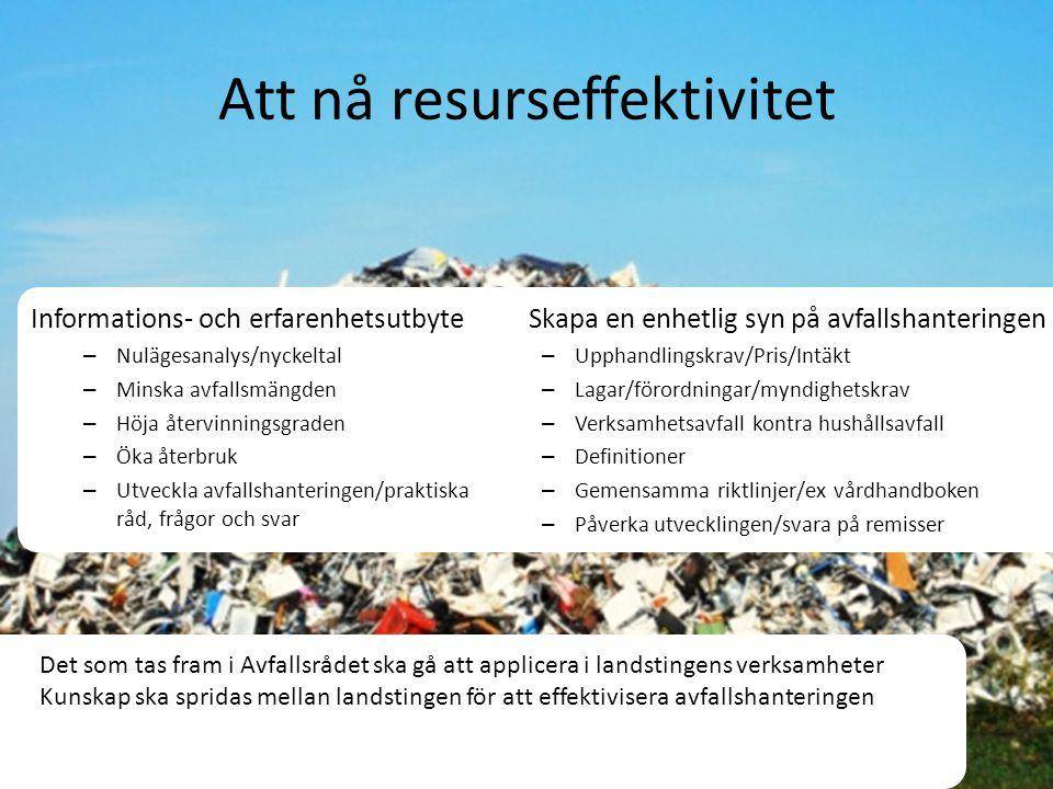 Att nå resurseffektivitet Informations- och erfarenhetsutbyte – Nulägesanalys/nyckeltal – Minska avfallsmängden – Höja återvinningsgraden – Öka återbr
