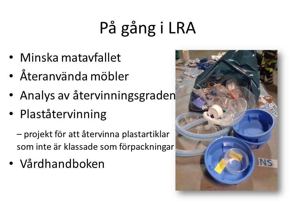 På gång i LRA Minska matavfallet Återanvända möbler Analys av återvinningsgraden Plaståtervinning – projekt för att återvinna plastartiklar som inte ä