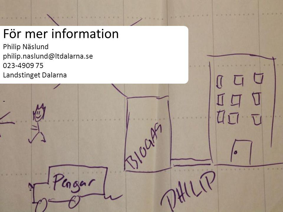 För mer information Philip Näslund philip.naslund@ltdalarna.se 023-4909 75 Landstinget Dalarna -