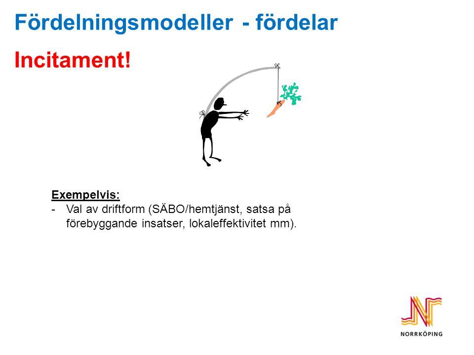 Fördelningsmodeller - fördelar Incitament! Exempelvis: -Val av driftform (SÄBO/hemtjänst, satsa på förebyggande insatser, lokaleffektivitet mm).