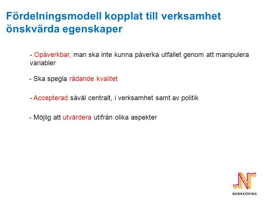 Fördelningsmodell ÄO i Norrköpings kommun Normkostnad Vägd normkostnad (räknas upp i rätt prisnivå) Befolknings- prognos (12 grupper) Justering för förändring jämfört med föregående års budget Ökning kvinnor 65- 69 år: 25 stycken 151 024 kr