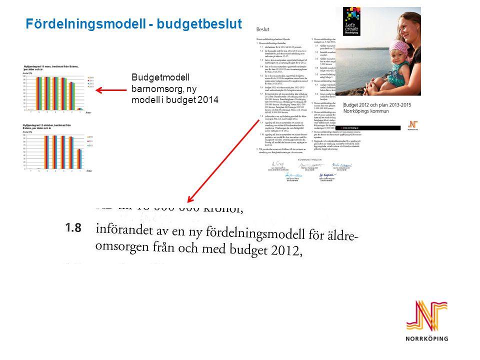 Fördelningsmodell - budgetbeslut Budgetmodell barnomsorg, ny modell i budget 2014