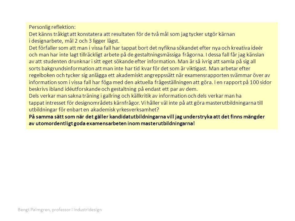Bengt Palmgren, professor i industridesign bengt palmgren@hotmail.com