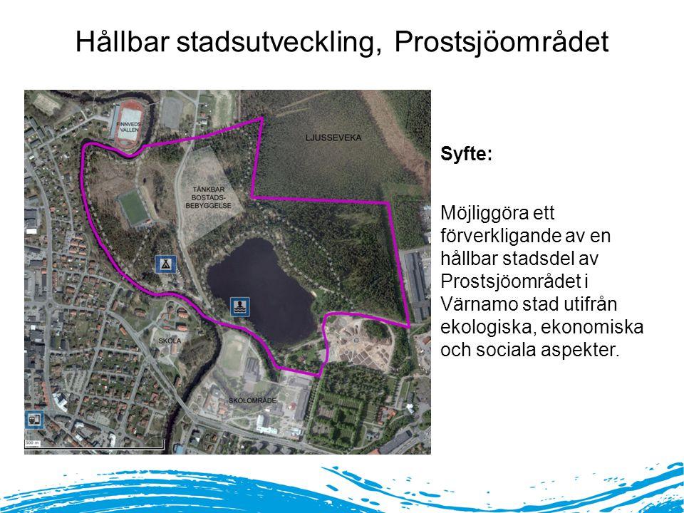 Politiskt deltagande Syfte: Möjliggöra ett förverkligande av en hållbar stadsdel av Prostsjöområdet i Värnamo stad utifrån ekologiska, ekonomiska och sociala aspekter.