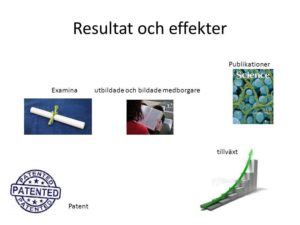 Resultat och effekter Patent Examina utbildade och bildade medborgare Publikationer tillväxt
