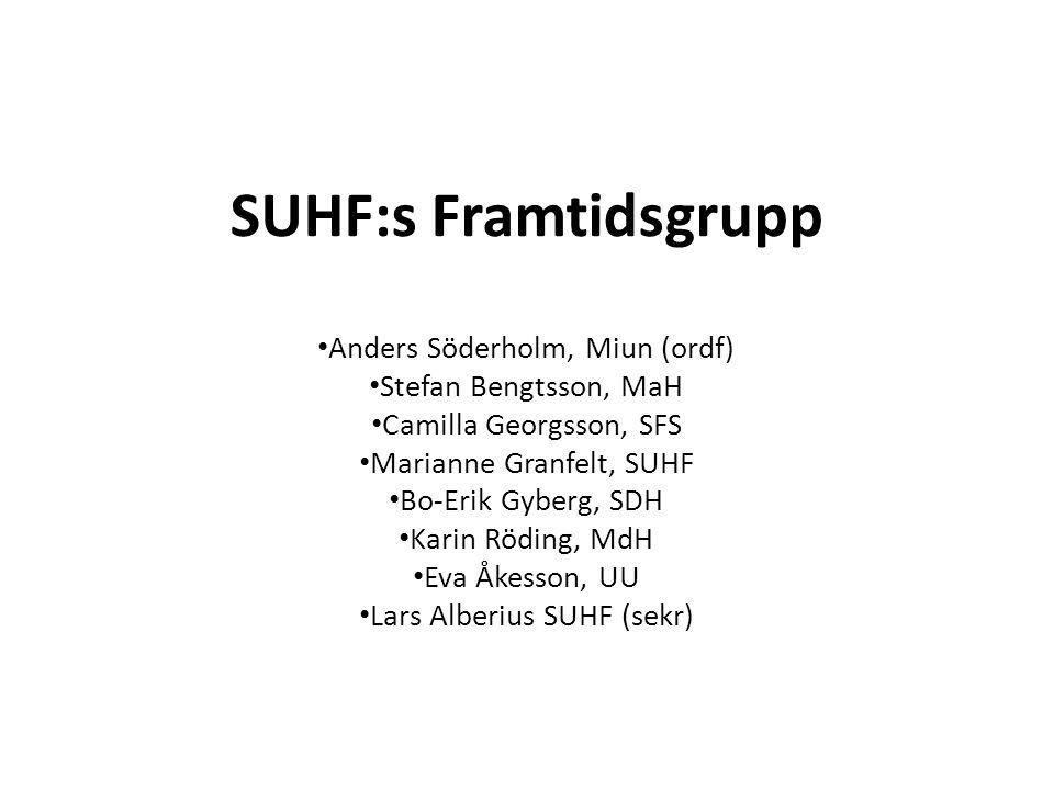 SUHF:s Framtidsgrupp Anders Söderholm, Miun (ordf) Stefan Bengtsson, MaH Camilla Georgsson, SFS Marianne Granfelt, SUHF Bo-Erik Gyberg, SDH Karin Rödi