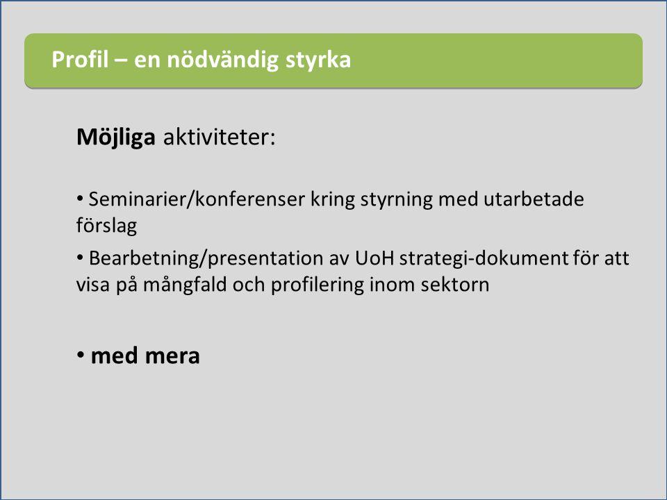 Möjliga aktiviteter: Seminarier/konferenser kring styrning med utarbetade förslag Bearbetning/presentation av UoH strategi-dokument för att visa på må