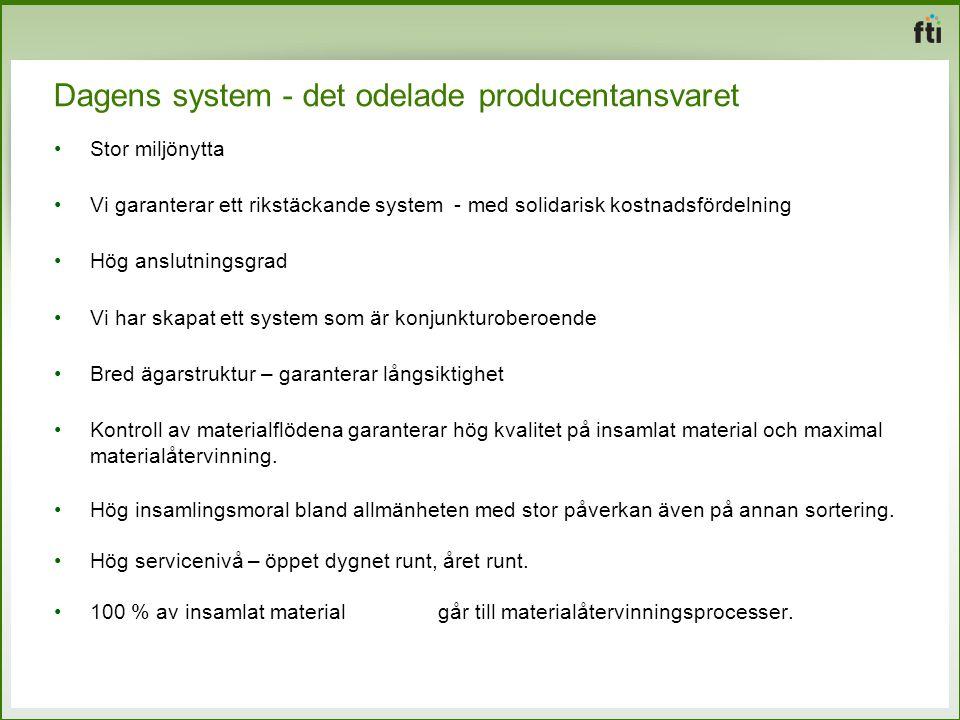 Dagens system - det odelade producentansvaret Stor miljönytta Vi garanterar ett rikstäckande system - med solidarisk kostnadsfördelning Hög anslutning