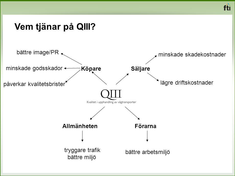Vem tjänar på QIII? Köpare minskade godsskador bättre image/PR påverkar kvalitetsbrister Säljare minskade skadekostnader lägre driftskostnader Förarna