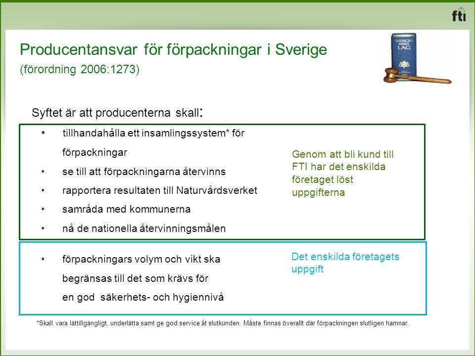 Producentansvar för förpackningar i Sverige (förordning 2006:1273) Syftet är att producenterna skall : tillhandahålla ett insamlingssystem* för förpac