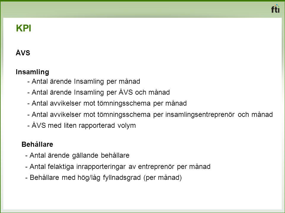 KPI ÅVS Insamling - Antal ärende Insamling per månad - Antal ärende Insamling per ÅVS och månad - Antal avvikelser mot tömningsschema per månad - Anta