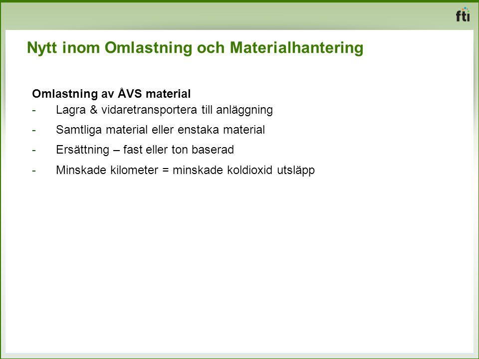 Nytt inom Omlastning och Materialhantering Omlastning av ÅVS material -Lagra & vidaretransportera till anläggning -Samtliga material eller enstaka mat
