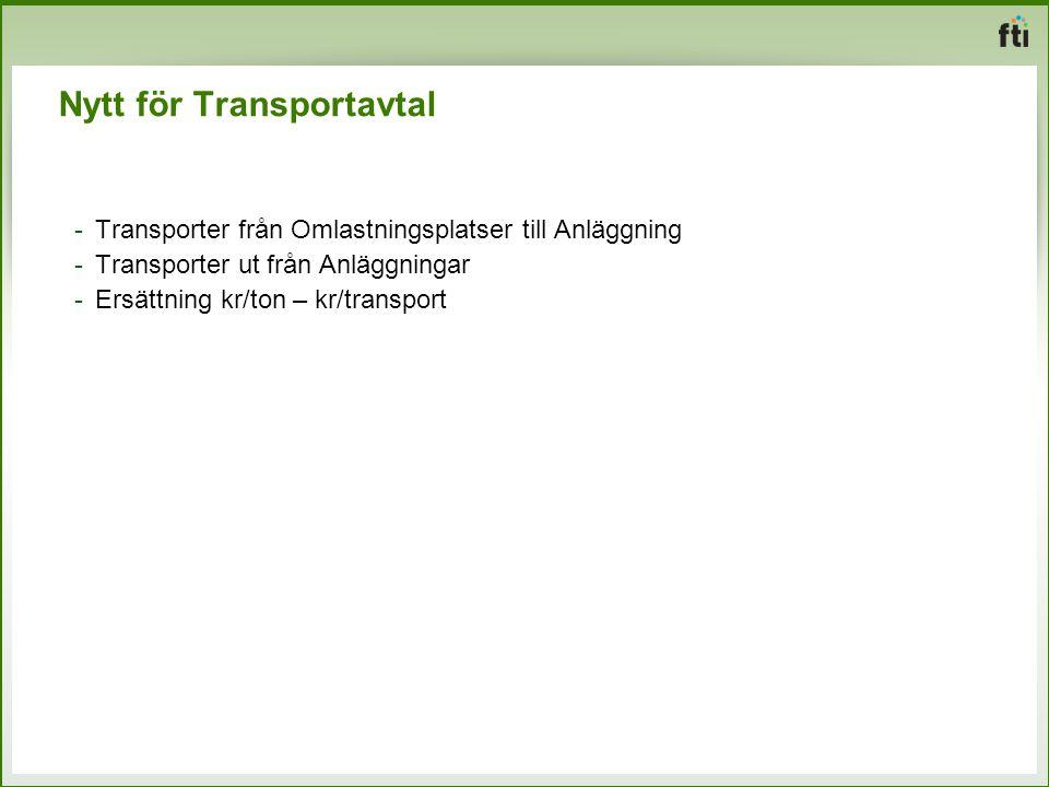 Nytt för Transportavtal -Transporter från Omlastningsplatser till Anläggning -Transporter ut från Anläggningar -Ersättning kr/ton – kr/transport