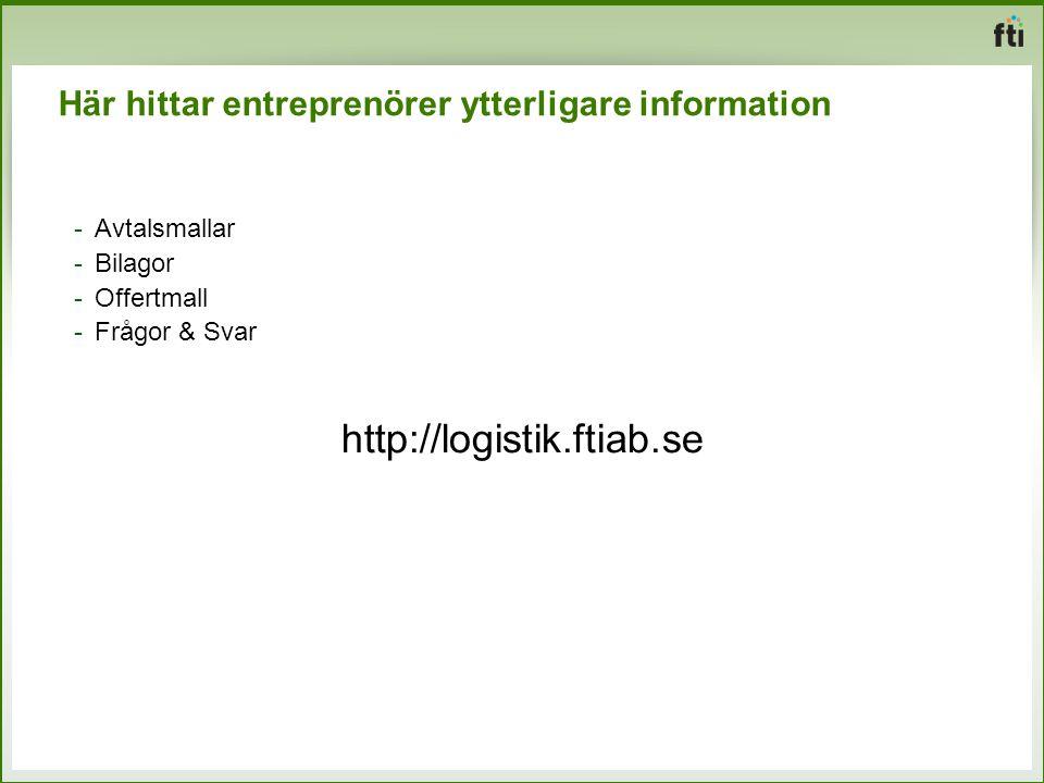 Här hittar entreprenörer ytterligare information -Avtalsmallar -Bilagor -Offertmall -Frågor & Svar http://logistik.ftiab.se