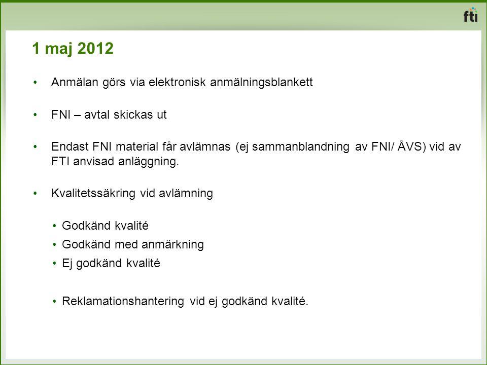 1 maj 2012 Anmälan görs via elektronisk anmälningsblankett FNI – avtal skickas ut Endast FNI material får avlämnas (ej sammanblandning av FNI/ ÅVS) vi