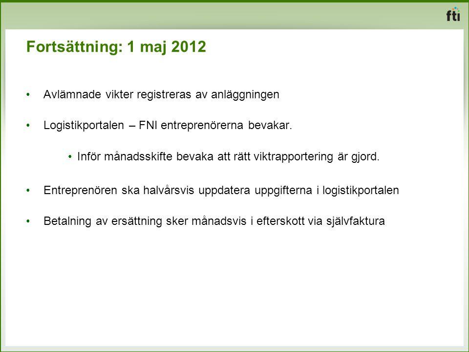Fortsättning: 1 maj 2012 Avlämnade vikter registreras av anläggningen Logistikportalen – FNI entreprenörerna bevakar. Inför månadsskifte bevaka att rä