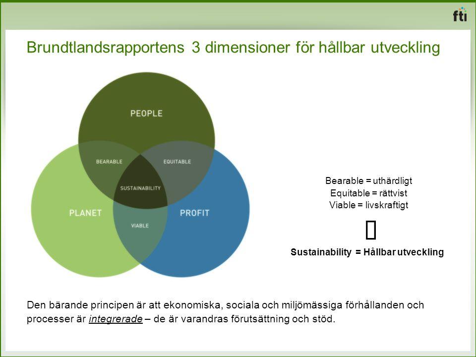 Brundtlandsrapportens 3 dimensioner för hållbar utveckling Den bärande principen är att ekonomiska, sociala och miljömässiga förhållanden och processe