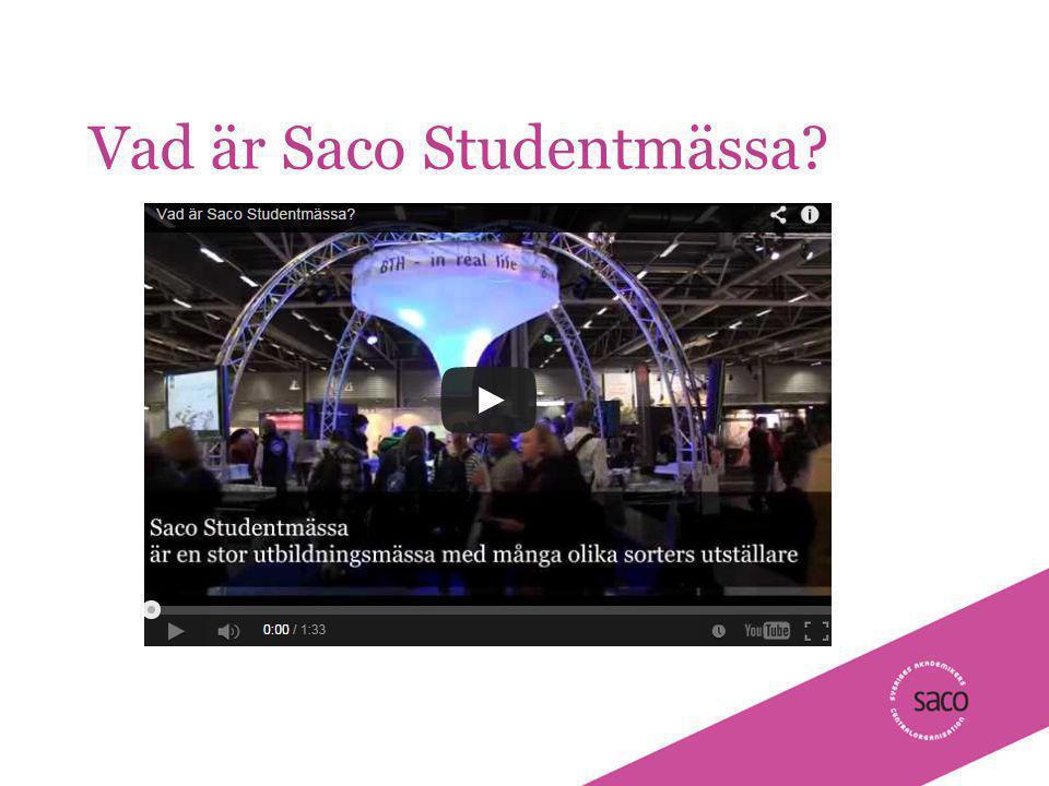 | Föredragsnamn, Föredragshållare, ååmmdd Vad är Saco Studentmässa 2