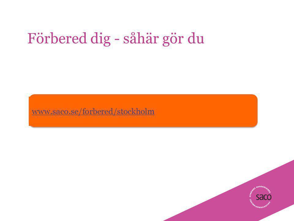 | Föredragsnamn, Föredragshållare, ååmmdd Förbered dig - såhär gör du 7 www.saco.se/forbered/stockholm