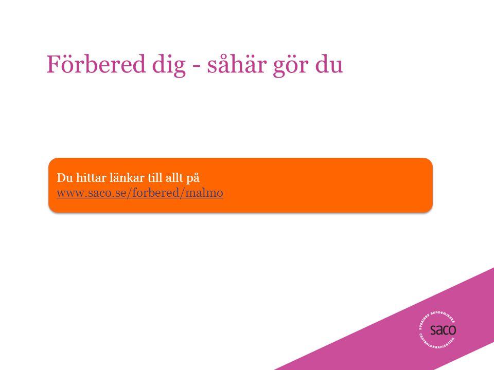| Föredragsnamn, Föredragshållare, ååmmdd Förbered dig - såhär gör du 6 Du hittar länkar till allt på www.saco.se/forbered/malmo