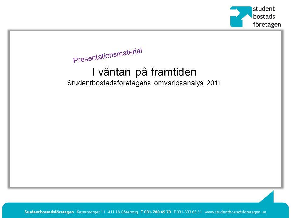 I väntan på framtiden Studentbostadsföretagens omvärldsanalys 2011 Presentationsmaterial