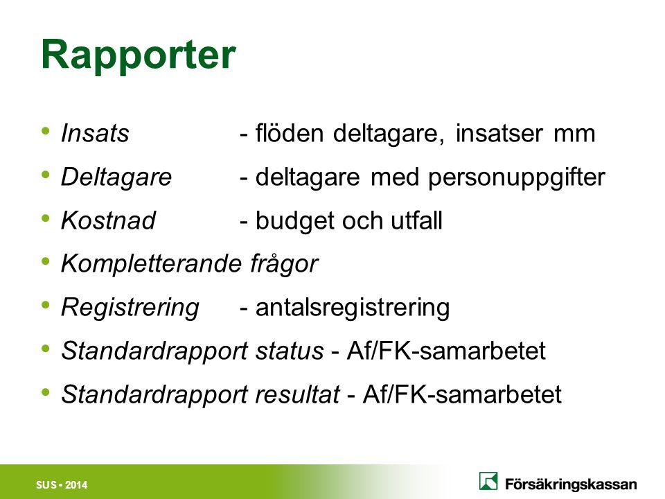 SUS 2014 Rapporter Insats - flöden deltagare, insatser mm Deltagare- deltagare med personuppgifter Kostnad- budget och utfall Kompletterande frågor Re