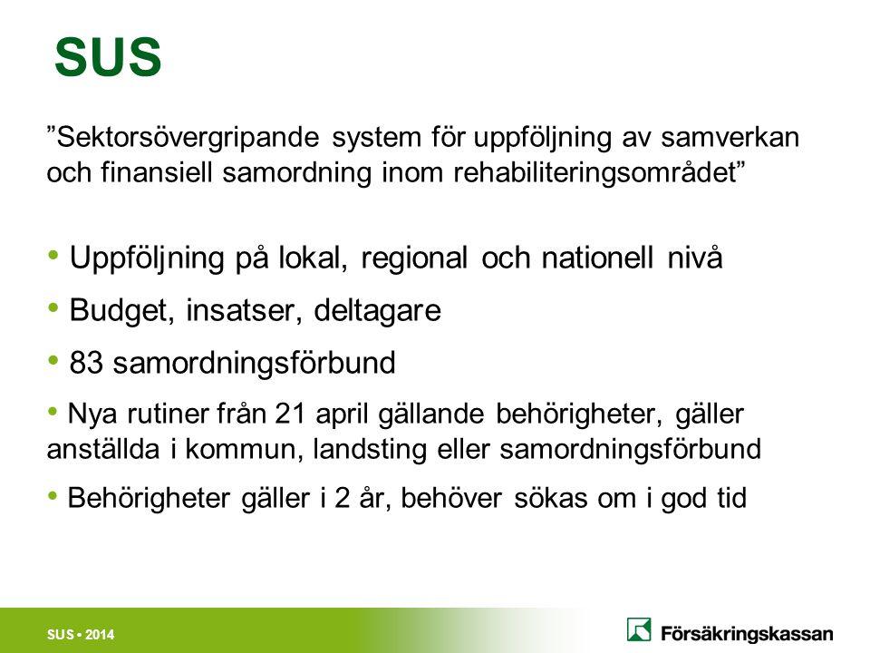 """SUS 2014 SUS """"Sektorsövergripande system för uppföljning av samverkan och finansiell samordning inom rehabiliteringsområdet"""" Uppföljning på lokal, reg"""