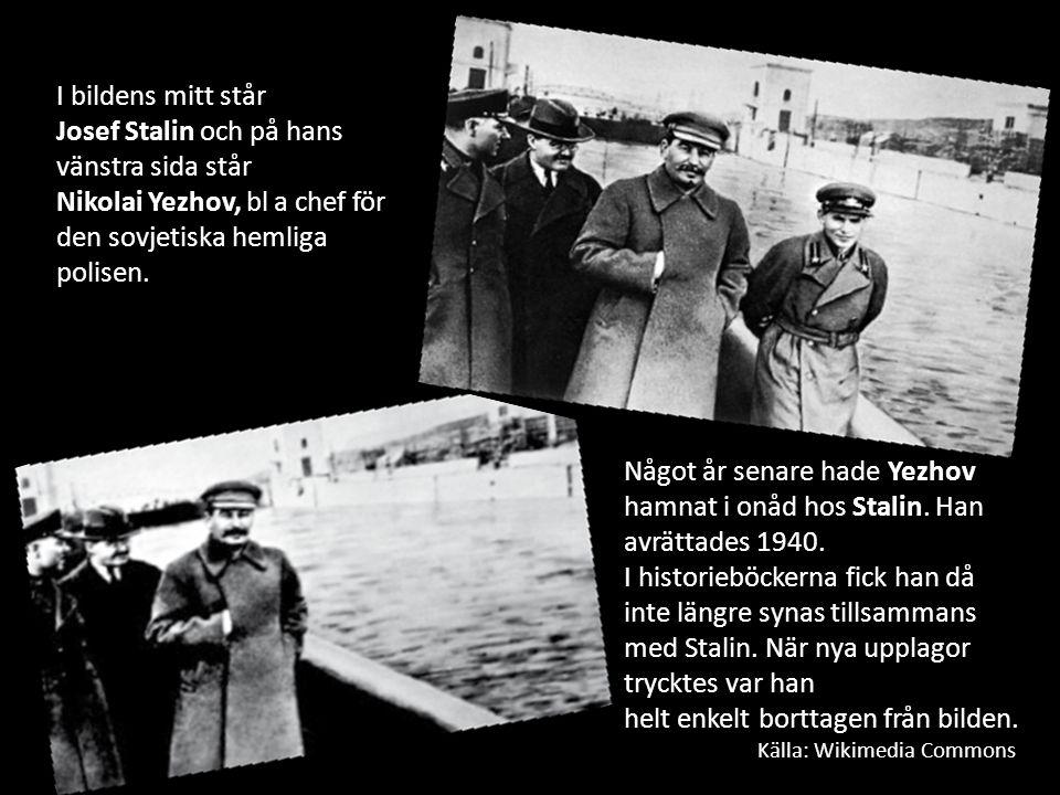 I bildens mitt står Josef Stalin och på hans vänstra sida står Nikolai Yezhov, bl a chef för den sovjetiska hemliga polisen. Något år senare hade Yezh