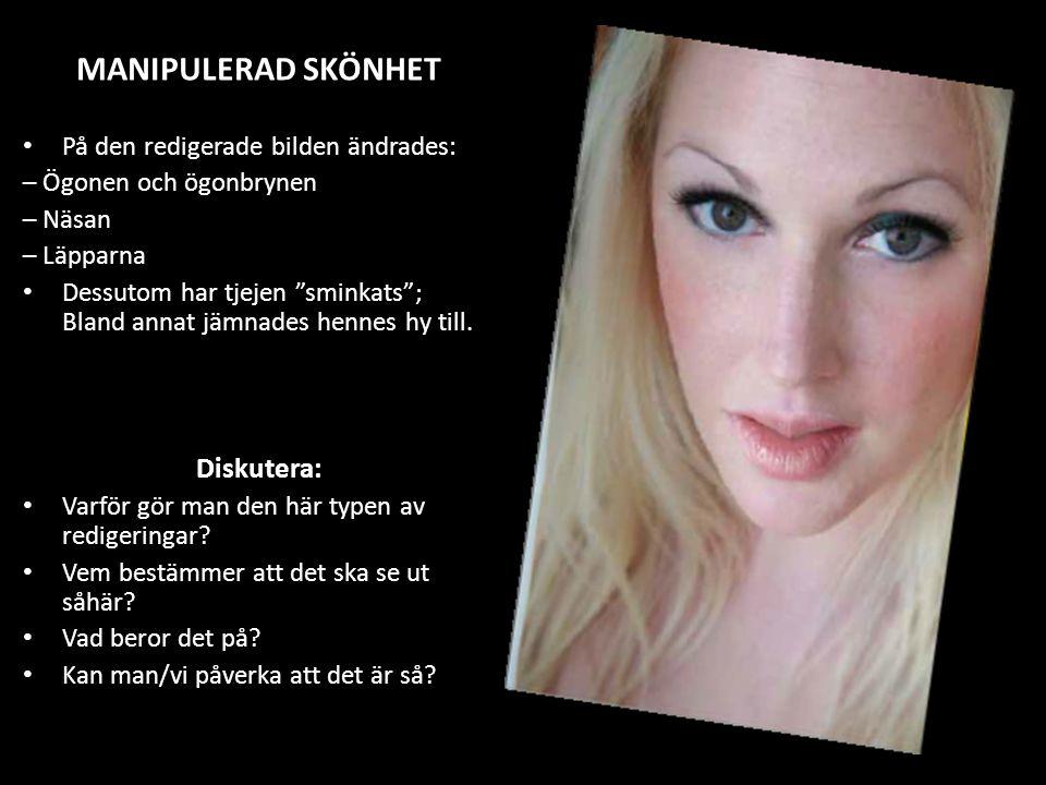 """På den redigerade bilden ändrades: – Ögonen och ögonbrynen – Näsan – Läpparna Dessutom har tjejen """"sminkats""""; Bland annat jämnades hennes hy till. Dis"""