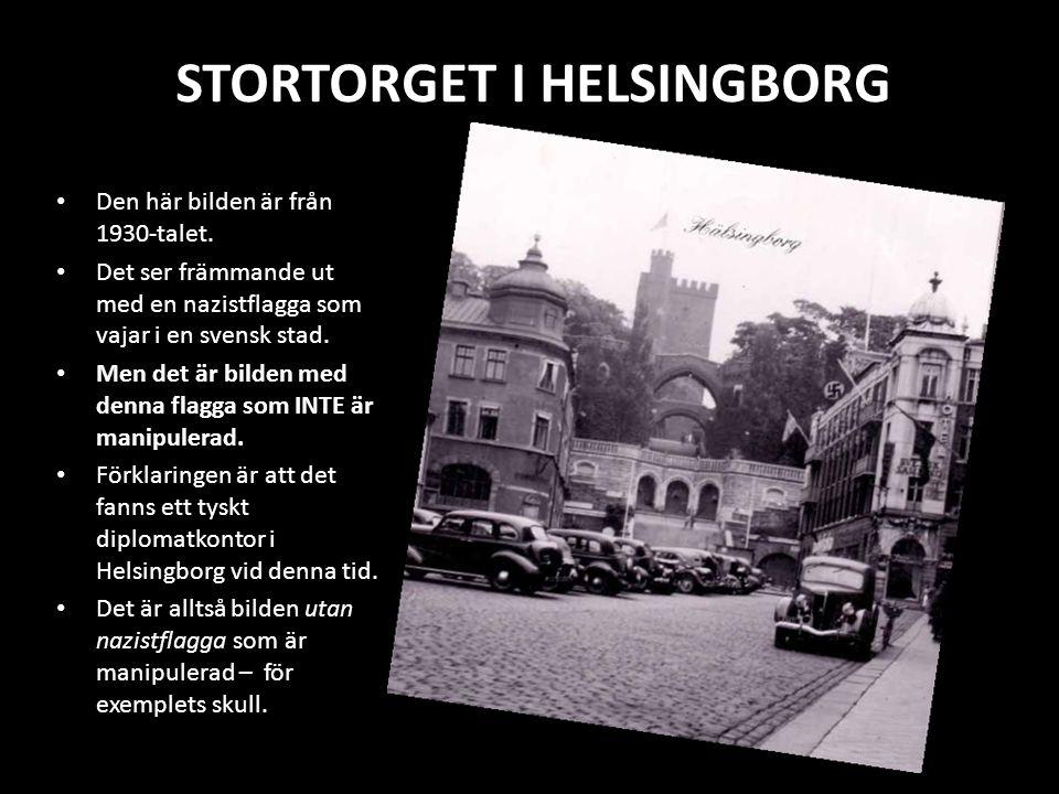 STORTORGET I HELSINGBORG Den här bilden är från 1930-talet. Det ser främmande ut med en nazistflagga som vajar i en svensk stad. Men det är bilden med