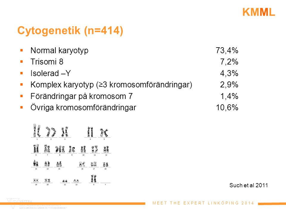 M E E T T H E E X P E R T L I N K Ö P I N G 2 0 1 4 KMML Cytogenetik (n=414)  Normal karyotyp73,4%  Trisomi 87,2%  Isolerad –Y4,3%  Komplex karyot