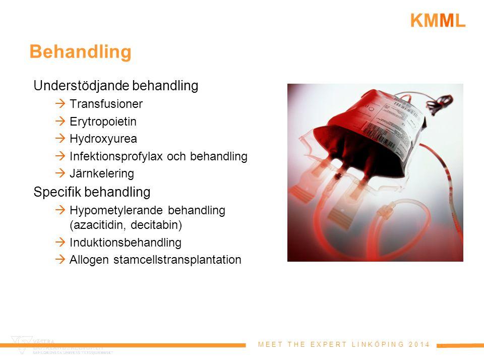 M E E T T H E E X P E R T L I N K Ö P I N G 2 0 1 4 KMML Behandling Understödjande behandling  Transfusioner  Erytropoietin  Hydroxyurea  Infektio